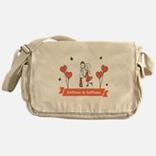 Personalized Names Couple Hearts Messenger Bag