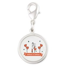 Personalized Names Couple Hear Silver Round Charm