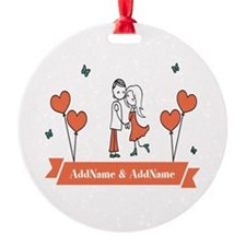 Personalized Names Couple Hearts Ornament