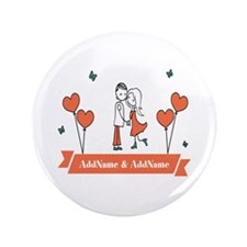 "Personalized Names Couple H 3.5"" Button (100 pack)"