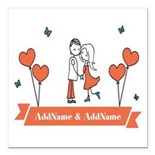 """Personalized Names Coupl Square Car Magnet 3"""" x 3"""""""