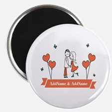 Personalized Names Couple Hearts Magnet