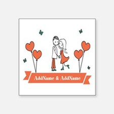 "Personalized Names Couple H Square Sticker 3"" x 3"""