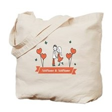 Personalized Names Couple Hearts Tote Bag