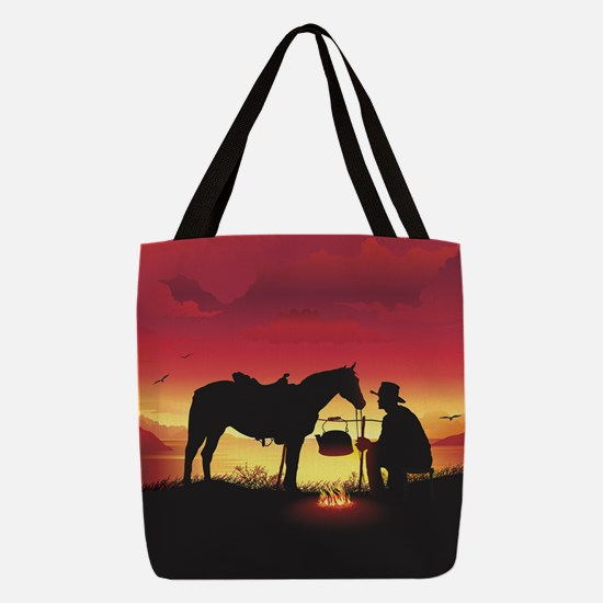 Cowboy and Horse at Sunset Polyester Tote Bag