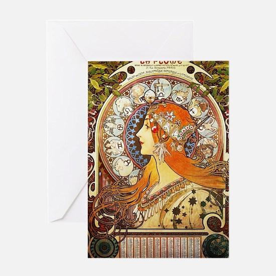 Alphonse Mucha La Plume Zodiac Greeting Cards