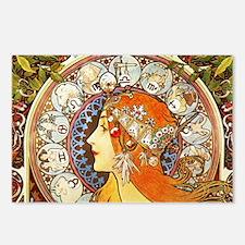 Alphonse Mucha La Plume Zodiac Postcards (Package