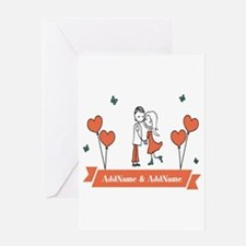 Personalized Names Couple Hearts Greeting Cards