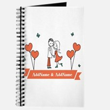 Personalized Names Couple Hearts Journal