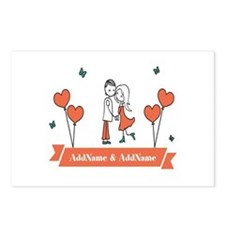 Personalized Names Couple Hearts Postcards (Packag