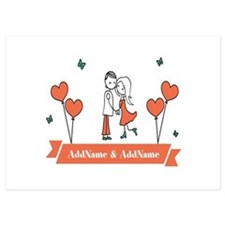 Personalized Names Couple Hearts Invitations