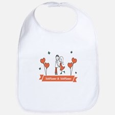 Personalized Names Couple Hearts Bib