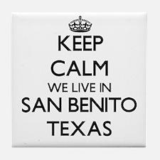 Keep calm we live in San Benito Texas Tile Coaster