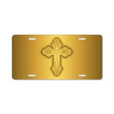 Orthodox Cross Aluminum License Plate
