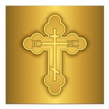 "Orthodox Cross Square Car Magnet 3"" x 3"""
