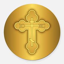 Orthodox Cross Round Car Magnet