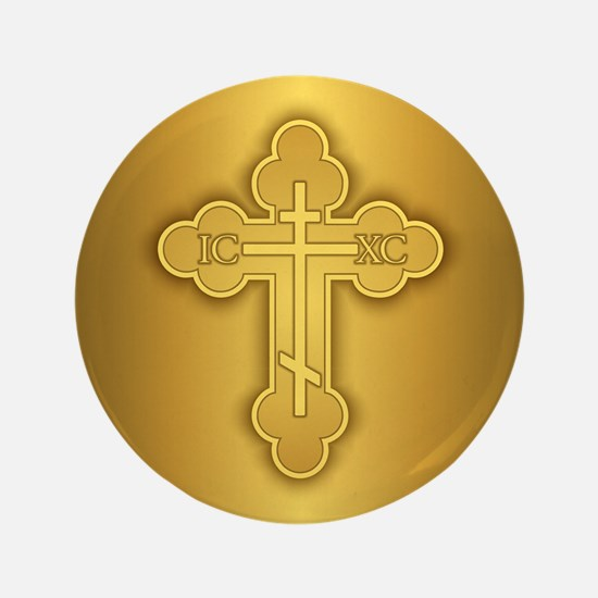 "Orthodox Cross 3.5"" Button"