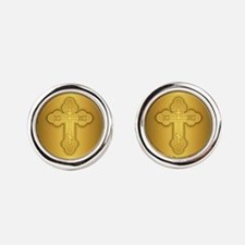 Orthodox Cross Round Cufflinks