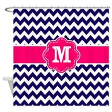 Navy Pink Chevron Monogram Shower Curtain