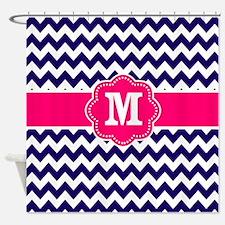 Navy Pink Chevron Monogram Shower Curtain