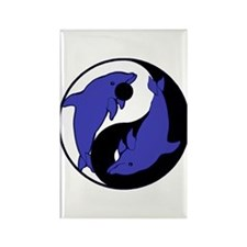 Yin Yang Dolphins 2 Rectangle Magnet