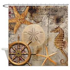 Nautical Postcard Collage Shower Curtain