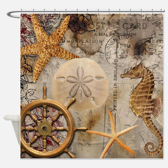Nautical Postcard Collage Shower Curtain