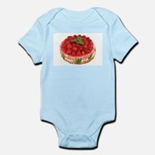 red strawberry cake photo Body Suit
