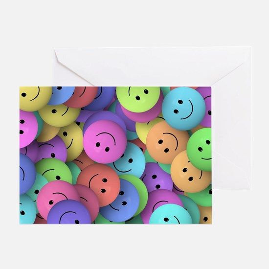 rainbow happy faces art Greeting Card