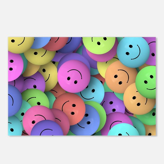 rainbow happy faces art Postcards (Package of 8)