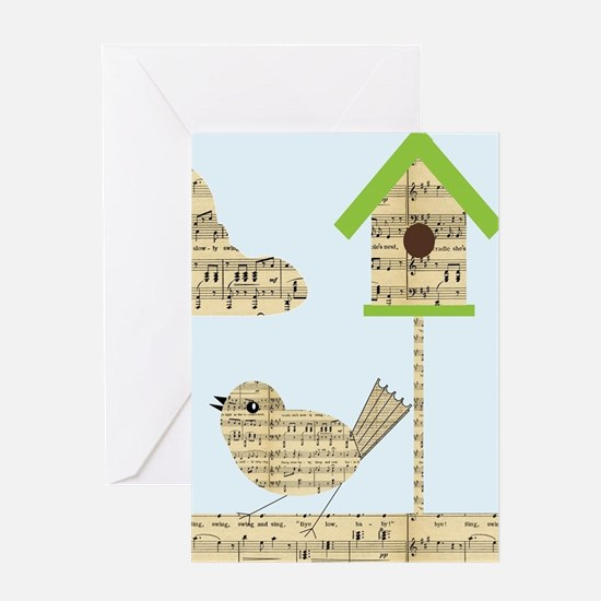 twee birds music notes Greeting Cards