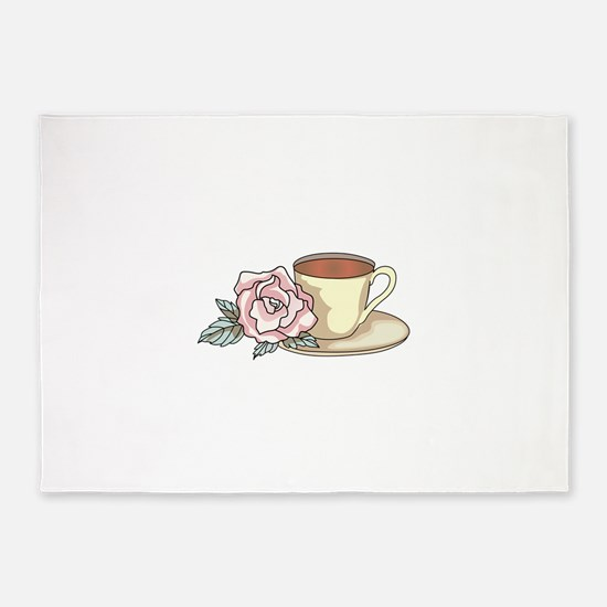 COFFEE AND ROSE 5'x7'Area Rug
