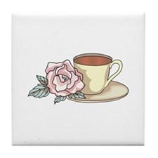 COFFEE AND ROSE Tile Coaster