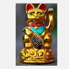 asian waving cat maneki n Postcards (Package of 8)