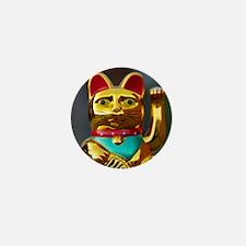asian waving cat maneki neko Mini Button