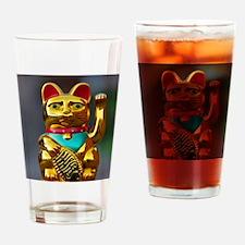 asian waving cat maneki neko Drinking Glass