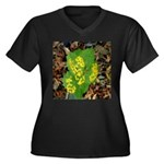 Yellow Flowers On Green Leave Women's Plus Size V-