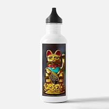 asian waving cat manek Water Bottle