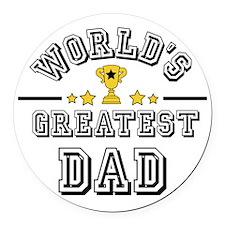 Worlds Greatest Dad Round Car Magnet