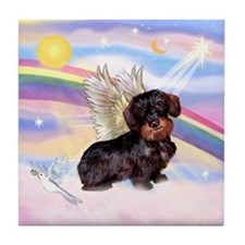 Wire Haired Dachshund Angel Tile Coaster