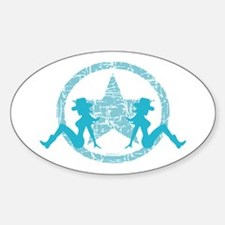 Mud Flap Cowgirls 2 Oval Decal