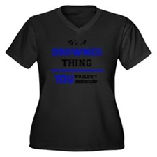 Funny Drown Women's Plus Size V-Neck Dark T-Shirt