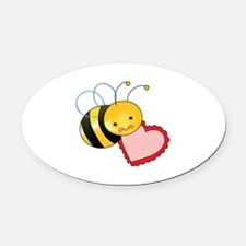 BEE WITH HEART Oval Car Magnet