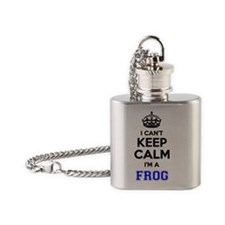 Cute Keep calm frog Flask Necklace