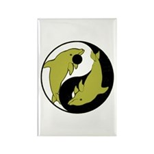 Yin Yang Dolphins 5 Rectangle Magnet