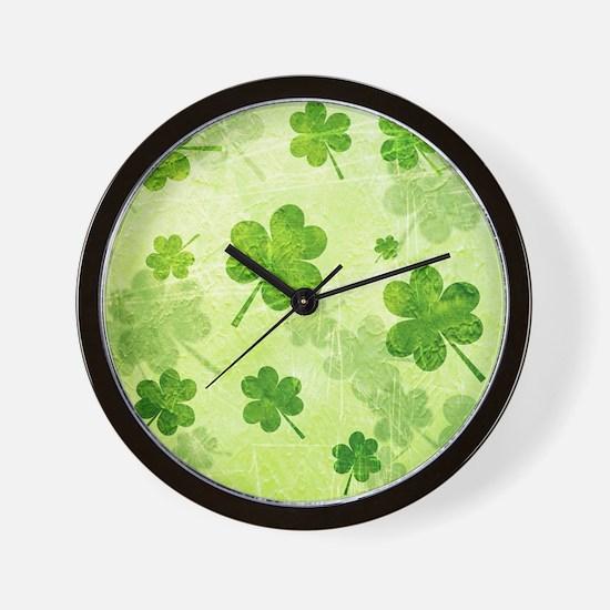 Green Shamrock Pattern Wall Clock