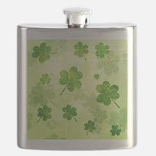 Green Shamrock Pattern Flask