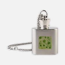 Green Shamrock Pattern Flask Necklace