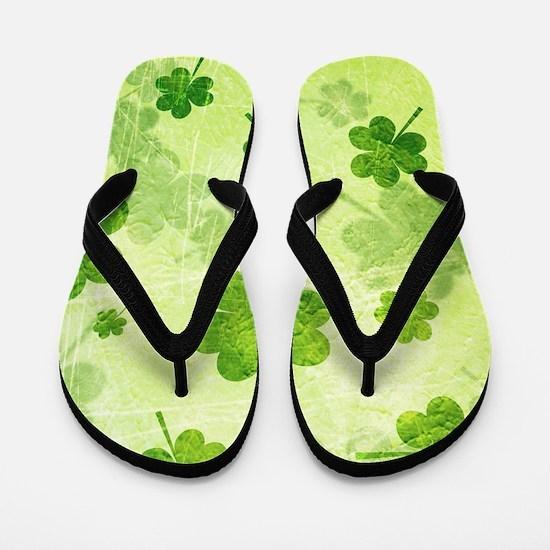Green Shamrock Pattern Flip Flops