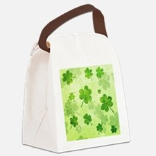 Green Shamrock Pattern Canvas Lunch Bag